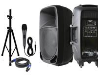 Bocinas amplificadas con micrófono